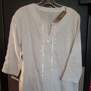 Chico's white cotton Embellished tunic size 0